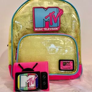 Loungefly MTV Clear Neon Mini Backpack & Wallet